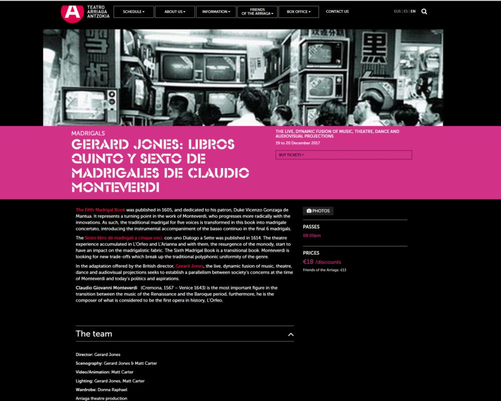Gerard Jones puts on the stage of Teatro Arriaga, (artistic director Calixto Bieito) Monteverdi's madrigal books 5 & 6